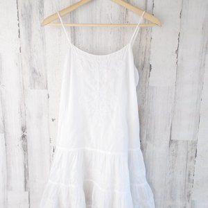 Denim & Supply White Dropwaist Embroidered Dress